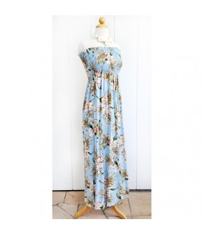 Hawaiian Rayon Tube Top Long Dress [ Orchid Fern Plumeria ] Blue
