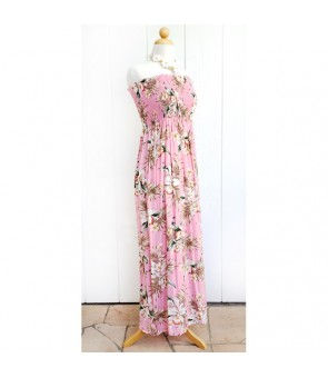 Hawaiian Rayon Tube Top Long Dress [ Orchid Fern Plumeria ] Pink