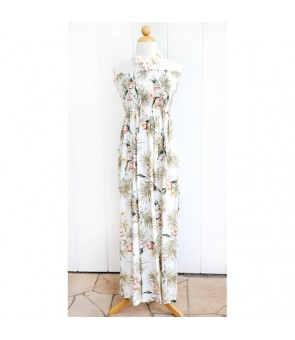Hawaiian Rayon Tube Top Long Dress [ Orchid Fern Plumeria ] White