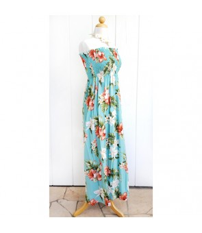 Hawaiian Rayon Tube Top Long Dress [ White Orchid Hibiscus ] Green