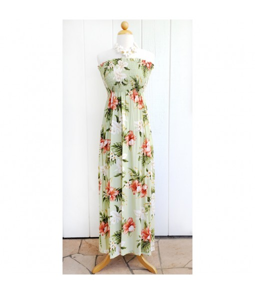 Hawaiian Rayon Tube Top Long Dress [ White Orchid Hibiscus ] Olive