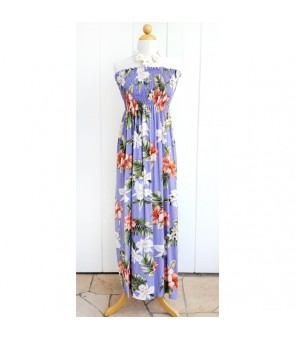 Hawaiian Rayon Tube Top Long Dress [ White Orchid Hibiscus ] Purple