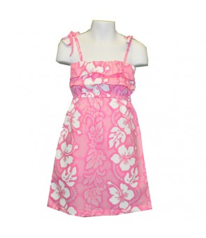 Hawaiian Cotton Girls Sundress [ Hibiscus 213 ] Pink