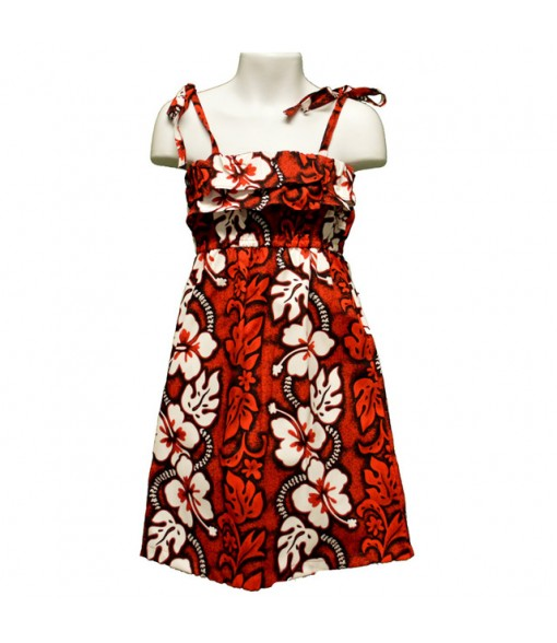 Hawaiian Cotton Girls Sundress [ Hibiscus 213 ] Red