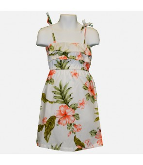 Hawaiian Cotton Girls Sundress [ Fancy Hibiscus ] White Coral