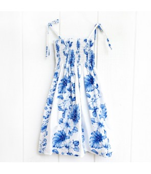 Hawaiian Cotton Girls Tube Top Dress [ Hibiscus Front Panel ] White Navy Blue