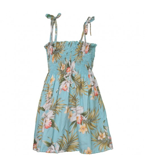 Hawaiian Rayon Girls Tube Top Dress [ Orchid Fern Plumeria ] Green