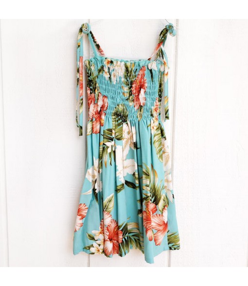 Hawaiian Rayon Girls Tube Top Dress [ White Orchid Hibiscus ] Green