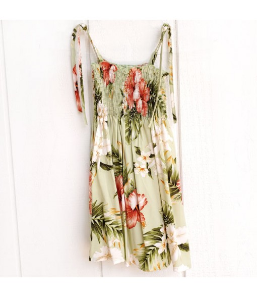 Hawaiian Rayon Girls Tube Top Dress [ White Orchid Hibiscus ] Olive