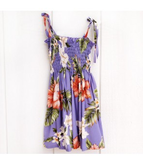 Hawaiian Rayon Girls Tube Top Dress [ White Orchid Hibiscus ] Purple