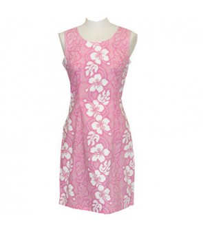 Hawaiian Cotton Tank Short Dress [ Hibiscus 213 ] Pink