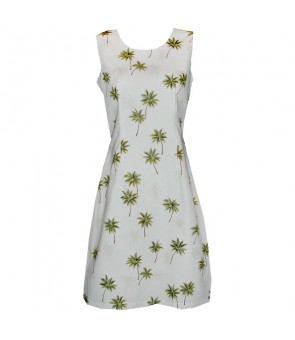 Hawaiian Cotton Tank Short Dress [ Palm Tree ] White