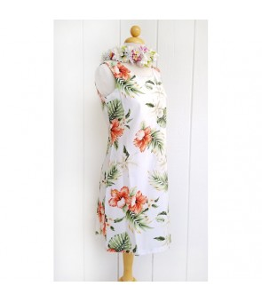 Hawaiian Cotton Tank Short Dress [ Orchid Hibiscus ] White