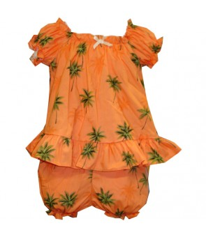 Hawaiian Cotton Baby Cabana Set [ Palm Tree ] Orange