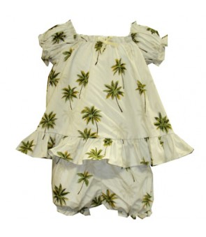 Hawaiian Cotton Baby Cabana Set [ Palm Tree ] White