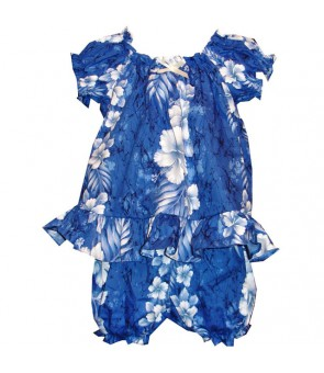 Hawaiian Cotton Baby Cabana Set [ Trend Hibiscus ] Navy Blue