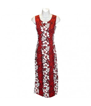 Hawaiian Cotton Long Tank Dress [ Hibiscus 213 ] Red
