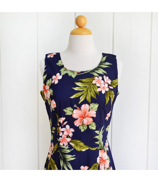 Hawaiian Cotton Long Tank Dress [ Fancy Hibiscus ] Navy Coral