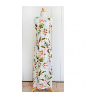 Hawaiian Cotton Long Tank Dress [ Fancy Hibiscus ] White Coral