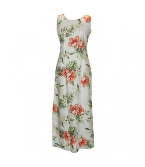 Hawaiian Cotton Long Tank Dress [ Orchid Hibiscus ] White