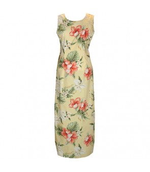 Hawaiian Cotton Long Tank Dress [ Orchid Hibiscus ] Yellow