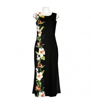 Hawaiian Cotton Long Tank Dress [ Bird of Hibiscus Panel ] Black