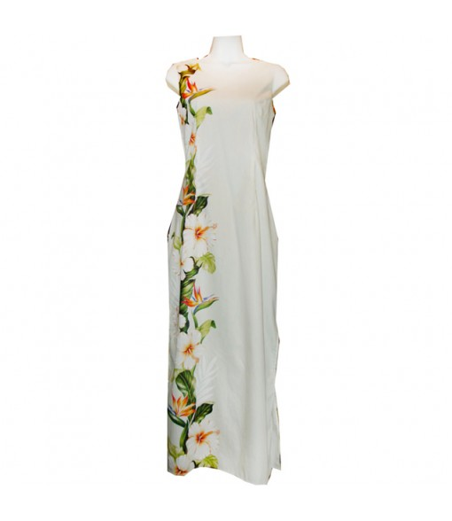 Hawaiian Cotton Long Tank Dress [ Bird of Hibiscus Panel ] White