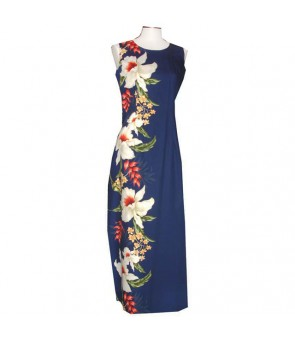 Hawaiian Cotton Long Tank Dress [ Orchid Panel ] Navy
