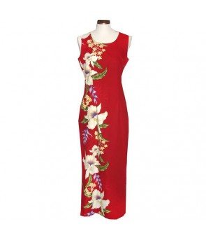 Hawaiian Cotton Long Tank Dress [ Orchid Panel ] Red