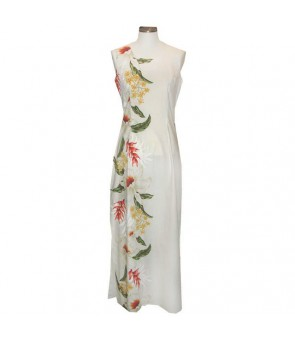 Hawaiian Cotton Long Tank Dress [ Orchid Panel ] White