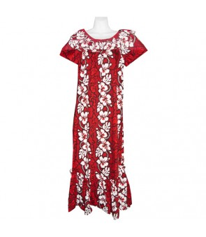 Hawaiian Cotton Muumuu Long Dress [ Hibiscus 213 ] Red