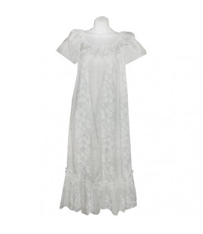Hawaiian Cotton Muumuu Long Dress [ Hibiscus 213 ] White