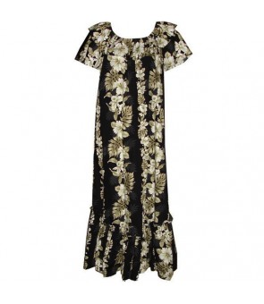 Hawaiian Cotton Muumuu Long Dress [ Hibiscus Front Panel ] Black