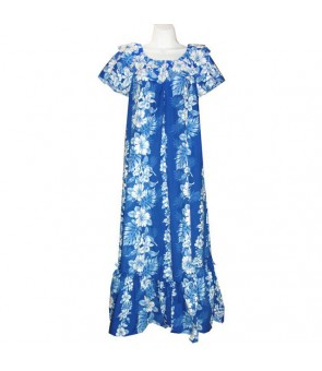 Hawaiian Cotton Muumuu Long Dress [ Hibiscus Front Panel ] Navy Blue