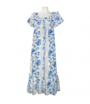 Hawaiian Cotton Muumuu Long Dress [ Hibiscus Front Panel ] White Navy Blue