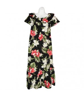 Hawaiian Cotton Muumuu Long Dress [ Orchid Hibiscus ] Black