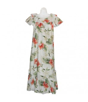 Hawaiian Cotton Muumuu Long Dress [ Orchid Hibiscus ] White