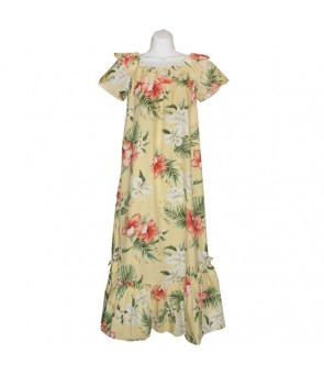 Hawaiian Cotton Muumuu Long Dress [ Orchid Hibiscus ] Yellow