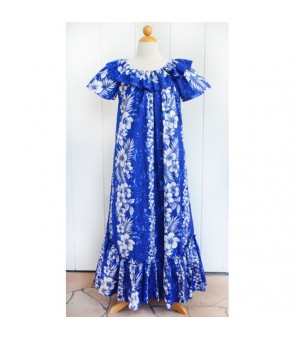 Hawaiian Cotton Muumuu Long Dress [ Trend Hibiscus ] Navy Blue