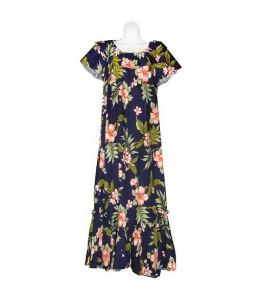 Hawaiian Cotton Muumuu Long Dress [ Fancy Hibiscus ] Navy Coral