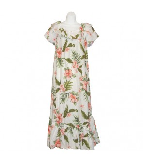 Hawaiian Cotton Muumuu Long Dress [ Fancy Hibiscus ] White Coral