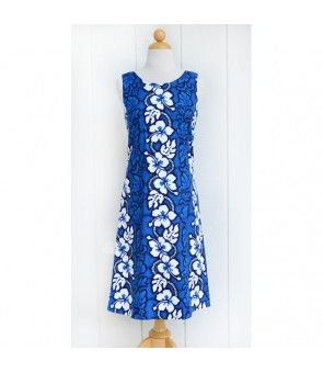 Hawaiian Cotton Mid-Length Tank Dress [ Hibiscus 213 ] Navy Blue
