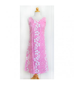 Hawaiian Cotton Mid-Length Tank Dress [ Hibiscus 213 ] Pink
