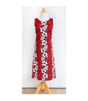 Hawaiian Cotton Mid-Length Tank Dress [ Hibiscus 213 ] Red