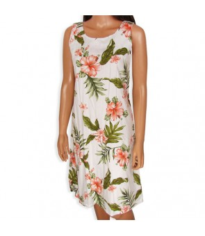 Hawaiian Cotton Mid-Length Tank Dress [ Fancy Hibiscus ] White Coral