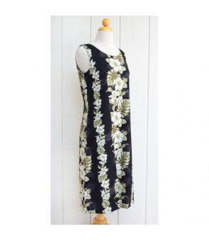 Hawaiian Cotton Mid-Length Tank Dress [ Hibiscus Front Panel ] Black