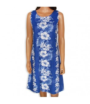 Hawaiian Cotton Mid-Length Tank Dress [ Hibiscus Front Panel ] Navy Blue