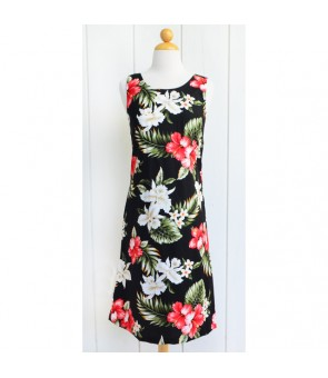 Hawaiian Cotton Mid-Length Tank Dress [ Orchid Hibiscus ] Black