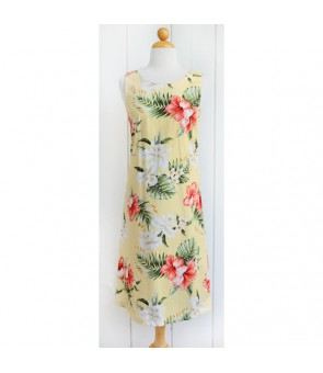 Hawaiian Cotton Mid-Length Tank Dress [ Orchid Hibiscus ] Yellow