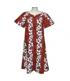Hawaiian Cotton Muumuu Midi Dress [ Hibiscus 213 ] Red